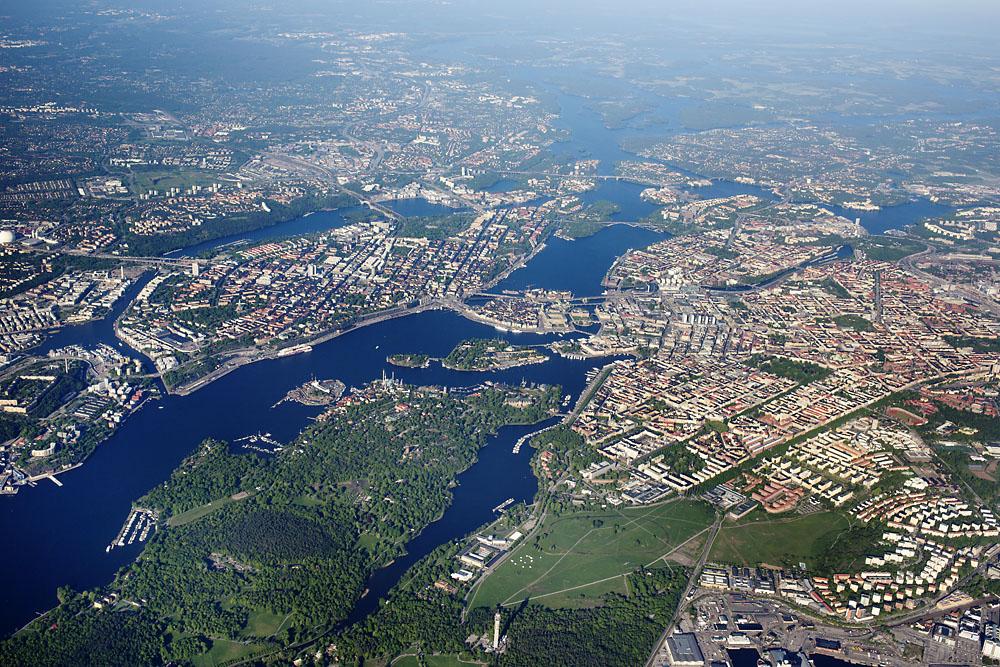 flygbild över Stockholm (H. Dahlgren/Azote)